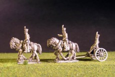 Brunswick Foot artillery Limber with 4 horses, 2 riders & 1 sitting driver