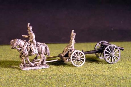 Brunswick Foot artillery Limber with 2 horses, 1 rider & 1 sitting driver & 1x 6lb Gun