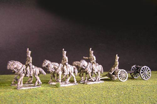 Brunswick Foot artillery Limber with 6 horses, 3 riders & 1 sitting driver & 1x 6lb Gun