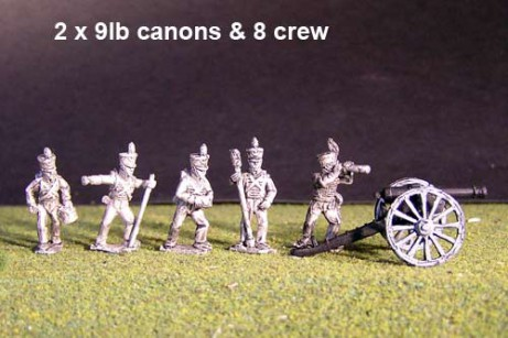 Battery of Brunswick Foot artillery with 2x British Howitzers & 8 figures