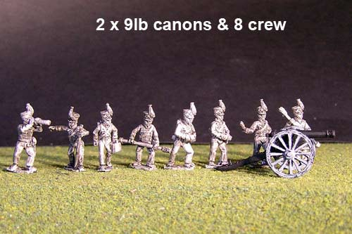 Battery of Brunswick Horse artillery with 2x British Howitzers & 8 figures