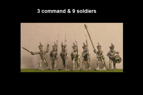 Brunswick Lieb Battalion Marching 12 figs with Command