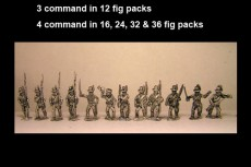 Avantguard Mix of Jagers & Light Infantry in Hats Marching x 12 figs with command