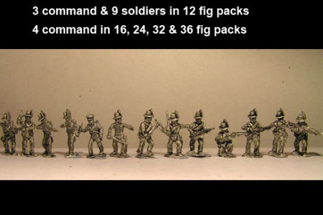Avantguard Mix of Jagers & Light Infantry in Hats Skirmishing/ Firing Line x 12 figs with command