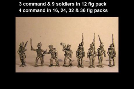 Avantguard Light Infantry in Hats Marching x 12 figs with command