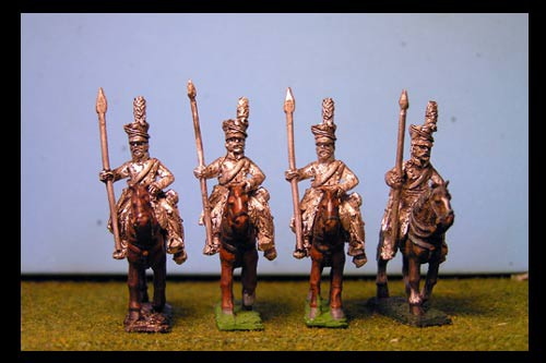 Uhlans at Rest with Lance up.  (lances fixed, cast on figure)