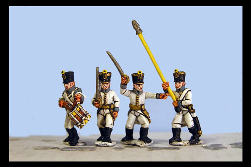 German Infantry in Shako Command Marching/Advancing (8 figs, 4 variants)