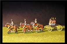 Set 6 horse team with 3 riders, Limber, Wurst Riders and 6lb Gun