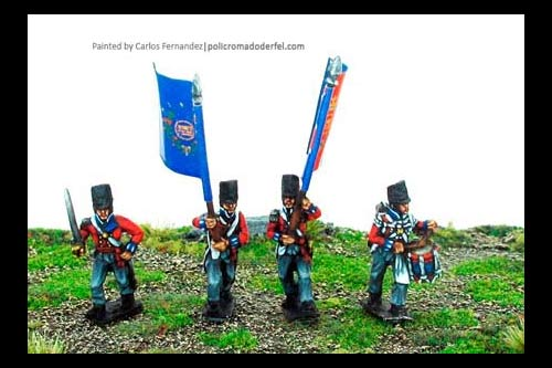 British/KGL Infantry Command Marching/Advancing Covered Belgic Shako