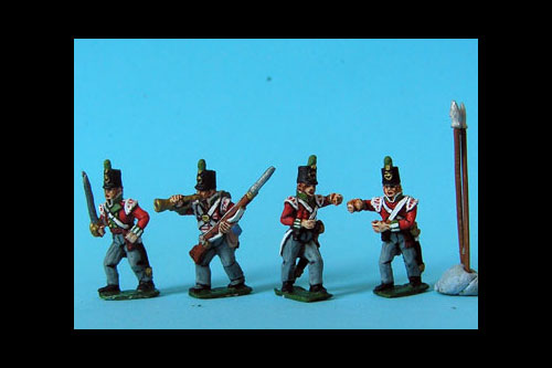 Light Infantry Command Marching/Advancing Stovepipe Shako x 8 (4 variants, Bugler, Officer & 2 Standard Bearers, 2 of each)