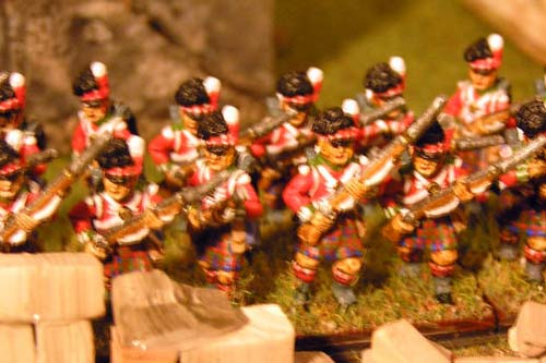 Scottish infantry in Kilts Advancing Centre Company