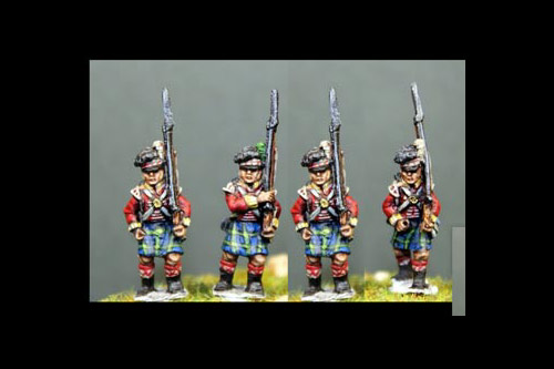 Scottish infantry in Kilts Marching Flank Company