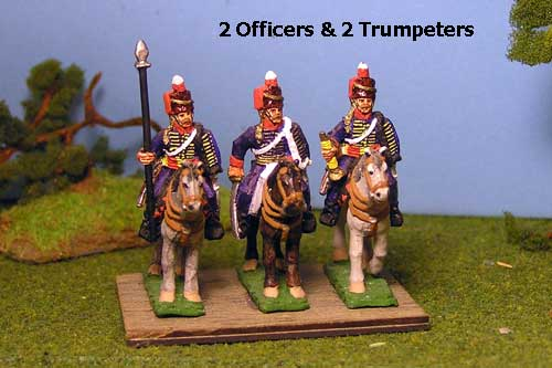 British & 1st KGL Hussars Command at Rest x 4 (2 Offciers & 2 trumpeters)