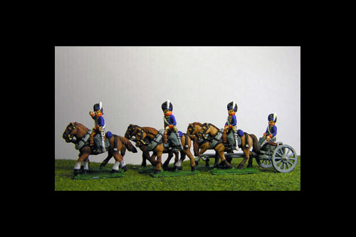 British / KGL Artillery Limber with 6 horses and 3 riders & 1 Sitting Driver