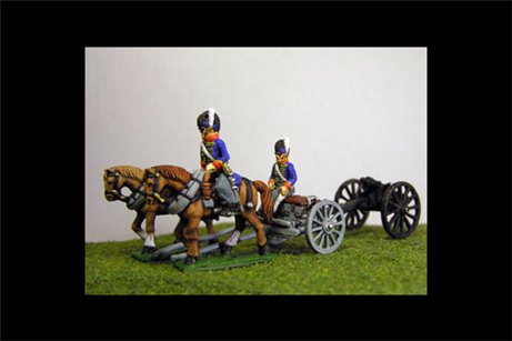 British / KGL Artillery Limber with 2 horses and 1 rider & 1 Sitting Driver plus 1 x 6lb Gun or choose calibre
