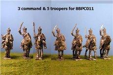 British / KGL Hussars in Shako Charging x 8 with Command