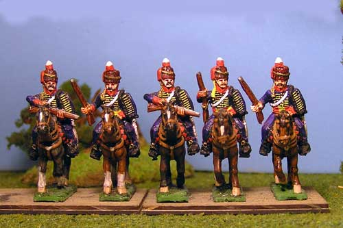 Peninsular British & KGL Hussars Carrying Carbine at Rest x 4 (3 variants)