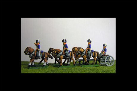 Peninsular British / KGL Artillery Limber with 6 horses and 3 riders & 1 Sitting Driver