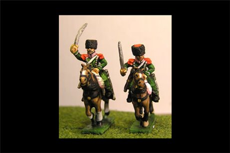 Chasseurs a Cheval Elite in Colback and epaulettes Charging (x2)
