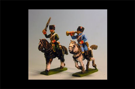 Chasseurs a Cheval de la Guard Command Campaign Dress (4 figs, 2 trumpeters & 2 Officers)