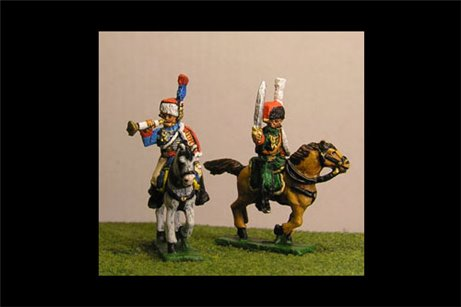 Chasseurs a Cheval de la Guard Command Full Dress (4 figs, 2 trumpeters & 2 Officers)