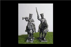 Imperial Guard Polish & Dutch Lancers Command in covered Czapka x 4 (2 Officers & 2 Trumpeters)