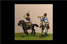 Grenadiers a Cheval Command (4 figs, 2 trumpeters & 2 Officers)