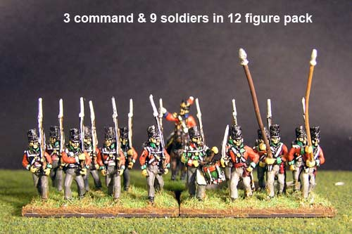Hanover Line Marching Covered Belgic Shako (& Landwehr Bns Quackenbruck, Hildensheim y Peine) with Command