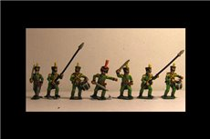 Nassau Infantry Command 2 (5 variants, of 3 officers, Standard Bearer, Drummer) 8 figs
