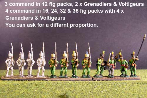 1st Rgt Marching, Centre Companies & Grenadiers with Tuft Plume & Voltigeurs with Plumet.