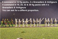 1st Rgt Advancing, Centre Companies Tuft Plume, Grenadiers with Shako Chords & Voltigeurs with Plumet.