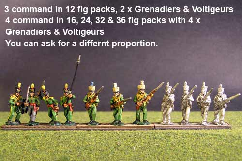 1st Rgt Advancing, Covered Shako for Centre Companies & Grenadiers & Voltigeurs with Plumet.
