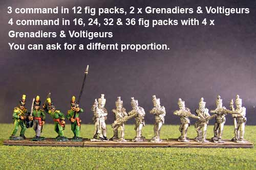 1st Rgt Firing Line, Covered Shako for Centre Companies & Grenadiers & Voltigeurs with Plumet.