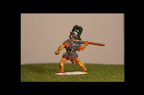Legionaries Thrusting Pilum above shoulder, Coolus helmet, plume (New pose)