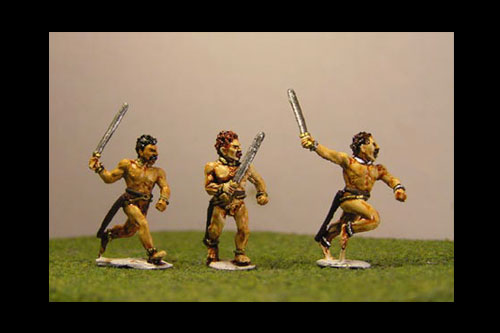 Gaesati Naked Infantryman running and advancing with swords & shields (3 variants)