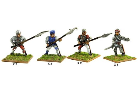 Italian Heavy halberdiers (Assorted) including one officer.