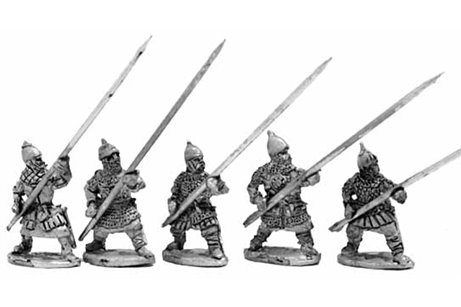 Russian heavy infantry 1240 - 1350, long spear and shield - five variants.