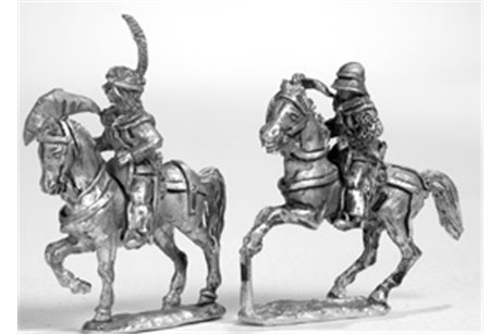 Swiss or burgundian mounted crossbowmen (4 miniatures in two different kinds)