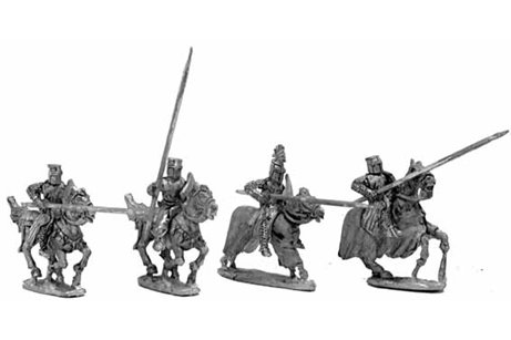 13th century knights, charging - three variants.