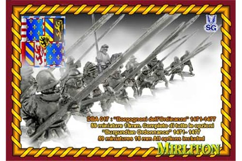 Burgundian of Ordonnance 1471- 1477 (15 Cavalrymen, 44 foot,1  bombard + flags
