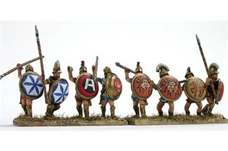Hoplite, front rank, with spear and shield, attacking (5 variants)