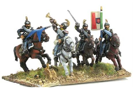 Command group of Dragoons in campaign dress, charging