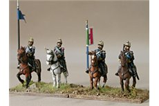 Command group of lancers in campaign dress, walking
