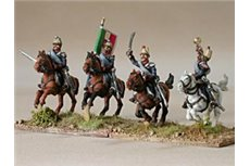 Command group of Chevauxlegers in campaign dress, charging