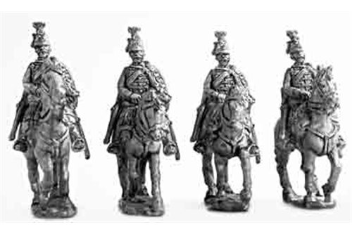 Hussars, dress uniform, walking, hands on bridles (1 variant).