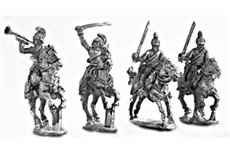 Dragoons command group, charging (4 miniatures, 3 variants)