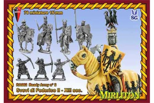 Swabian Army of Frederick II 13th century. ( 76 infantry, 24 cavalry, 2 flags)