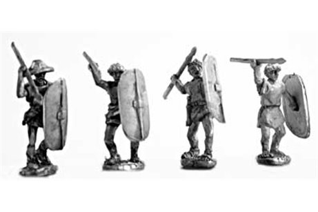 Skirmishers (class IV) armed with javelin and Italian shield (4 variants)