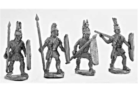 Lighter spearmen (class III) armed with spear, sword Italian helmet, and shield, attacking (4 variants