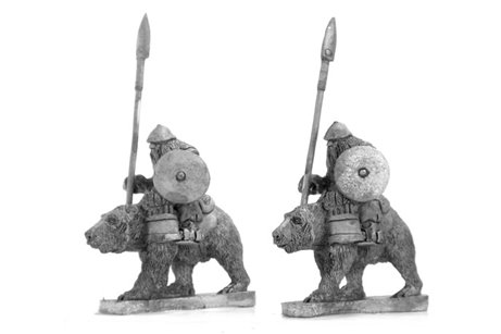 Dwarves with spear on bears